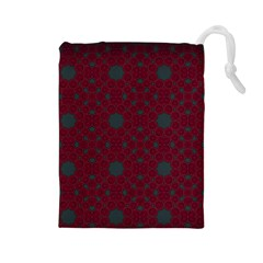 Blue Hot Pink Pattern With Woody Circles Drawstring Pouches (large)