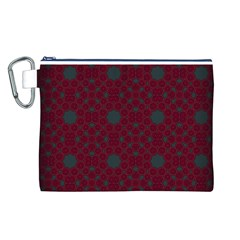 Blue Hot Pink Pattern With Woody Circles Canvas Cosmetic Bag (l)