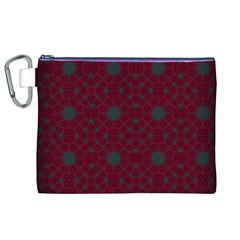 Blue Hot Pink Pattern With Woody Circles Canvas Cosmetic Bag (xl)