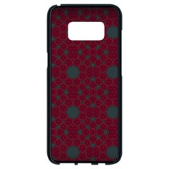 Blue Hot Pink Pattern With Woody Circles Samsung Galaxy S8 Black Seamless Case