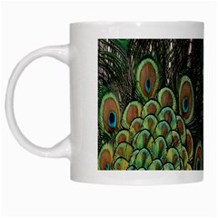 Close Up Of Peacock Feathers White Mugs