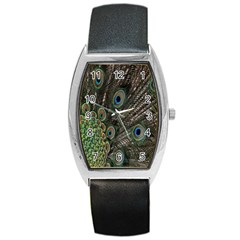 Close Up Of Peacock Feathers Barrel Style Metal Watch