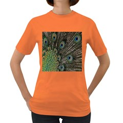 Close Up Of Peacock Feathers Women s Dark T Shirt