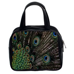 Close Up Of Peacock Feathers Classic Handbags (2 Sides)