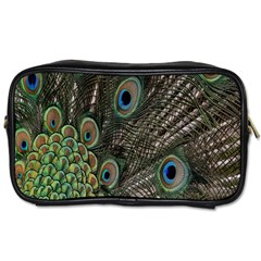 Close Up Of Peacock Feathers Toiletries Bags