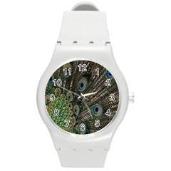 Close Up Of Peacock Feathers Round Plastic Sport Watch (m)