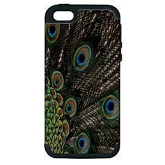 Close Up Of Peacock Feathers Apple Iphone 5 Hardshell Case (pc+silicone)