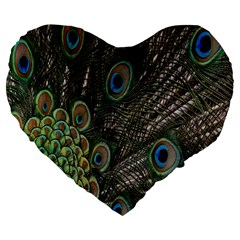 Close Up Of Peacock Feathers Large 19  Premium Heart Shape Cushions