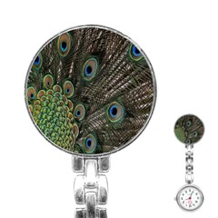 Close Up Of Peacock Feathers Stainless Steel Nurses Watch