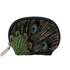 Close Up Of Peacock Feathers Accessory Pouches (small)