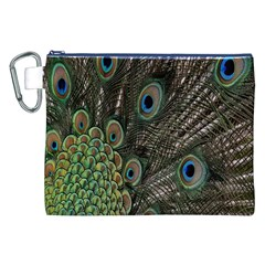 Close Up Of Peacock Feathers Canvas Cosmetic Bag (xxl)