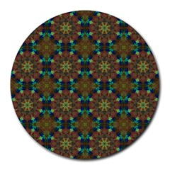 Seamless Abstract Peacock Feathers Abstract Pattern Round Mousepads
