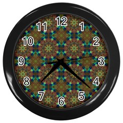 Seamless Abstract Peacock Feathers Abstract Pattern Wall Clocks (black)