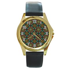 Seamless Abstract Peacock Feathers Abstract Pattern Round Gold Metal Watch