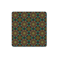 Seamless Abstract Peacock Feathers Abstract Pattern Square Magnet