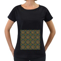 Seamless Abstract Peacock Feathers Abstract Pattern Women s Loose Fit T Shirt (black)