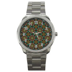Seamless Abstract Peacock Feathers Abstract Pattern Sport Metal Watch