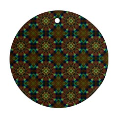 Seamless Abstract Peacock Feathers Abstract Pattern Round Ornament (two Sides)