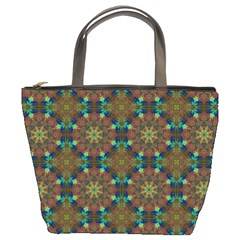 Seamless Abstract Peacock Feathers Abstract Pattern Bucket Bags