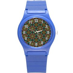 Seamless Abstract Peacock Feathers Abstract Pattern Round Plastic Sport Watch (s)