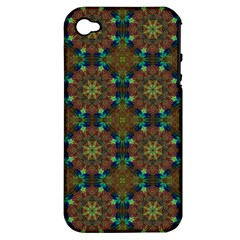 Seamless Abstract Peacock Feathers Abstract Pattern Apple Iphone 4/4s Hardshell Case (pc+silicone)