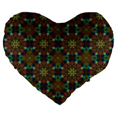 Seamless Abstract Peacock Feathers Abstract Pattern Large 19  Premium Heart Shape Cushions