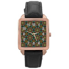 Seamless Abstract Peacock Feathers Abstract Pattern Rose Gold Leather Watch