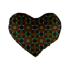 Seamless Abstract Peacock Feathers Abstract Pattern Standard 16  Premium Flano Heart Shape Cushions