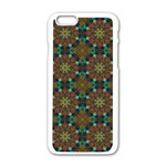 Seamless Abstract Peacock Feathers Abstract Pattern Apple iPhone 6/6S White Enamel Case Front
