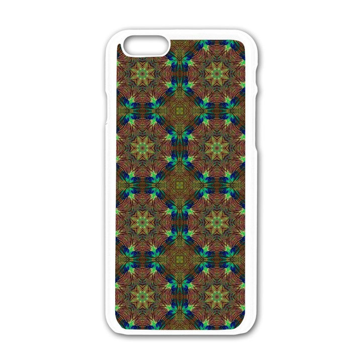 Seamless Abstract Peacock Feathers Abstract Pattern Apple iPhone 6/6S White Enamel Case