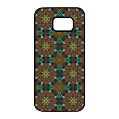 Seamless Abstract Peacock Feathers Abstract Pattern Samsung Galaxy S7 Edge Black Seamless Case