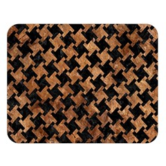Houndstooth2 Black Marble & Brown Stone Double Sided Flano Blanket (large)