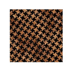 Houndstooth2 Black Marble & Brown Stone Small Satin Scarf (square)