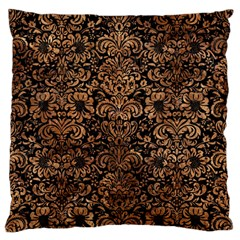Damask2 Black Marble & Brown Stone Large Flano Cushion Case (two Sides)