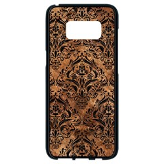 Damask1 Black Marble & Brown Stone (r) Samsung Galaxy S8 Black Seamless Case