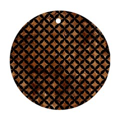 Circles3 Black Marble & Brown Stone (r) Round Ornament (two Sides)