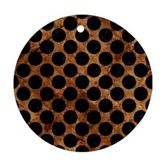 Circles2 Black Marble & Brown Stone (r) Round Ornament (two Sides)