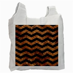 Chevron3 Black Marble & Brown Stone Recycle Bag (one Side)