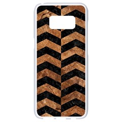 Chevron2 Black Marble & Brown Stone Samsung Galaxy S8 White Seamless Case