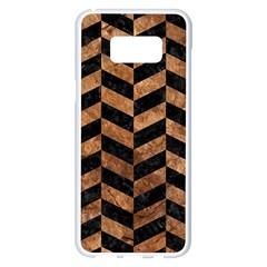 Chevron1 Black Marble & Brown Stone Samsung Galaxy S8 Plus White Seamless Case