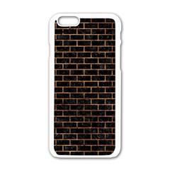 Brick1 Black Marble & Brown Stone Apple Iphone 6/6s White Enamel Case
