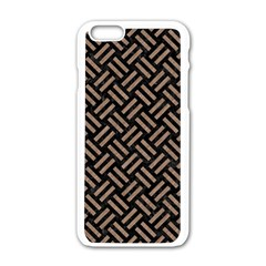 Woven2 Black Marble & Brown Colored Pencil Apple Iphone 6/6s White Enamel Case