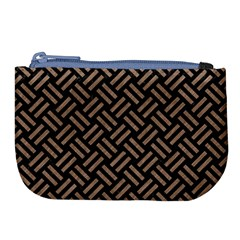 Woven2 Black Marble & Brown Colored Pencil Large Coin Purse