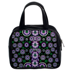 Fantasy Flower Forest  In Peacock Jungle Wood Classic Handbags (2 Sides)
