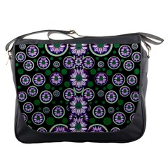 Fantasy Flower Forest  In Peacock Jungle Wood Messenger Bags