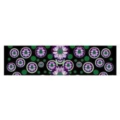 Fantasy Flower Forest  In Peacock Jungle Wood Satin Scarf (oblong)