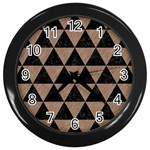 TRIANGLE3 BLACK MARBLE & BROWN COLORED PENCIL Wall Clock (Black) Front