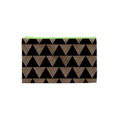 Triangle2 Black Marble & Brown Colored Pencil Cosmetic Bag (xs)