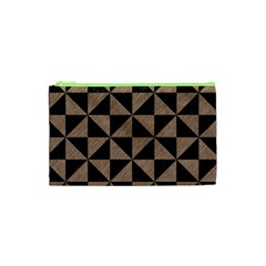 Triangle1 Black Marble & Brown Colored Pencil Cosmetic Bag (xs)