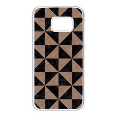 Triangle1 Black Marble & Brown Colored Pencil Samsung Galaxy S7 White Seamless Case